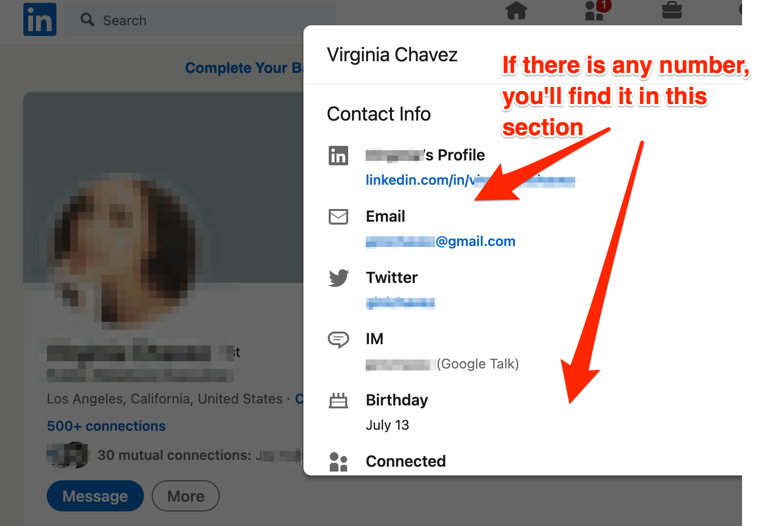 Find someone's phone number on LinkedIn