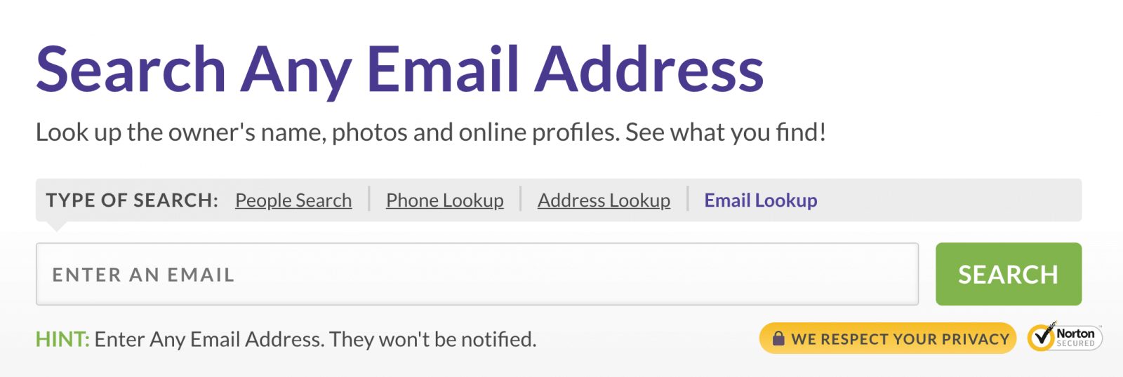 screenshot to lookup the email address