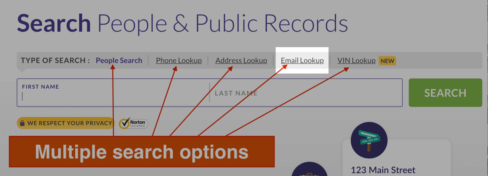 using email address for search
